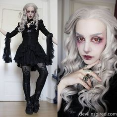 The gothic outfit fit the grey hair perfect!  Love your makeup babe @manicmoth !!  Outfit Code: LG-031  Wig Code: SN6-T4503/1001 ➡️www.devilinspired.com #devilinspiredofficial #lolita #lolitafashion #devilinspired #wig #gothic #makeup