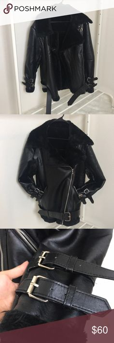 Aviator oversized jacket Oversized moto jacket. Color Black. 3 zippers, 6 straps (2 on each sleeve, 1 on waist, 1 on collar) shown in pictures faux leather & fur, BRAND NEW WITHOUT TAG! I'm 5ft & 92 pounds, it fits way too big on me unfortunately. Size S! This is not Zara! Just put it for views! Jackets & Coats Trench Coats