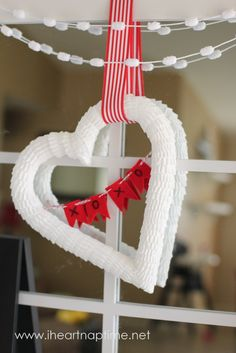 Valentines heart wreath made from cupcake liners