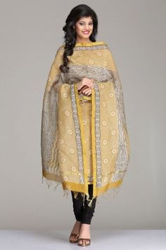 Striking Golden Mustard & Ivory Chanderi Unstitched Suit With Geometric Pattern Hand Block Print & A Gold Zari Border