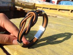 Mens leather bracelet / brown and black leather by VavienStore, $23.00