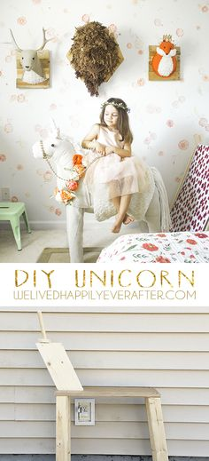 This tutorial has been a long time in coming. For the past year, I had been planning on making June a unicorn. But I had been dragging my feet, becuase I knew from my last stuffed animal taxidermy (se