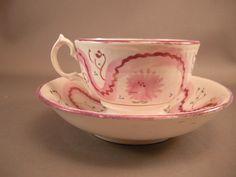 Antique Victorian Pink Lusterware Cup w/ Tea Bowl. $35.00, via Etsy.