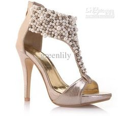 Wholesale 2013 New Brital Wedding Shoes PU Beading Ppen Toe Black Golden High Heel 11cm Rubber Sole, Free shipping, $31.36-35.84/Pair | DHgate