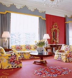 Sitting Room in the Greenbrier Hotel, Dorothy Draper-one of my favorite places!