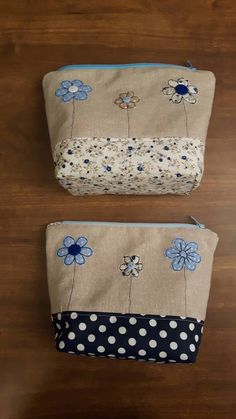 Lovely 3 flower applique Makeup Bag using machine free- motion embroidery, Zip-Pouch, For Bits and Bobs, Girls Case, Handmade, GBP9.00 by CurlyEmmaEmbroidery on Etsy More