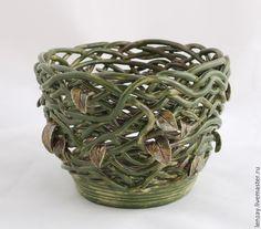 Купить Кашпо Болотная нимфа - оливковый, зеленый, болотный, кашпо, цветочный горшок, для сада