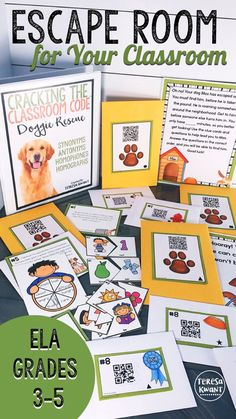 Try this escape room with your class today! Students will be on a quest to save Max the dog from the pound, by solving a string of literacy and language arts questions. All questions focus on the topics of synonyms, antonyms, homophones, and homographs. 5th Grade Ela, Third Grade Reading, Fourth Grade, 5th Grade Games, Grade 2, Escape Room, 4th Grade Classroom, Classroom Activities, Library Activities
