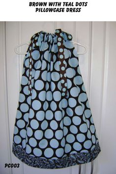 Brown with Teal Dots boutique Pillowcase by GiraffesJellybeans, $19.99