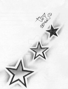 Shading Stars Tattoo by on DeviantArt Word Tattoos, Body Art Tattoos, Sleeve Tattoos, Star Tattoo Designs, Star Designs, 3 Stars Tattoo, Easy Drawings, Tattoo Drawings, Symbole Tattoo
