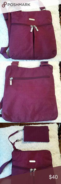 Baggallini Plum Nylon Crossbody Bag BAGGALLINI Plum Nylon Crossbody Bag comes with Keychain and Plum Pouch  Good condition Baggallini  Bags Crossbody Bags
