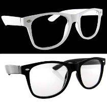 Lot of 2 Nerd Glasses Buddy Holly Wayfarer Black and White Frame Clear Dark Lenses  From H2W