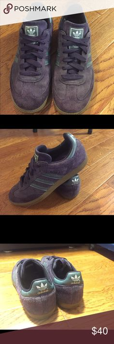 🌷 Adidas purple suede Samba shoes size 7 In great condition. I replaced the insoles with more comfortable ones. Adidas Shoes Sneakers