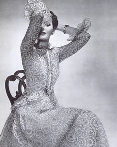 Balenciaga's 1939 gown embodies the delicate, romantic aura of the immediate pre-war collections with its ruffles that evoke the #edwardianera. Shot in cool, soft shades of grey by #georgeplattlynes for #harpersbazaar #fashionstudies #fashionhistory #dresshistory #vintagefashion #1930sfashion