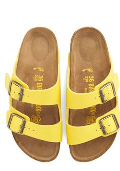 Strappy Camper Sandal in Buttercup. After your biggest backpacking achievement to date, you deserve to slip out of those hiking boots and rest your feet on the classic beds of these Birkenstock Arizona sandals! Sock Shoes, Cute Shoes, Me Too Shoes, Shoe Boots, Shoes Sandals, Yellow Sandals, Yellow Shoes, Suede Sandals, Birkenstock Sandals