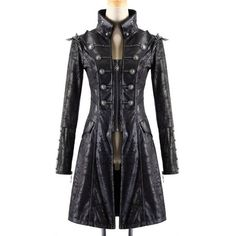 Punk Rave Womens Steampunk Jacket Coat Black Goth Military Punk Faux... (235 CAD) ❤ liked on Polyvore featuring outerwear, jackets and military fashion