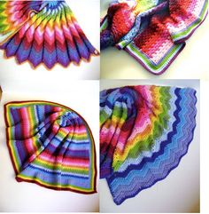 Technicolor Crochet Blanket Patterns All Four by sheilalikestoknit, $15.00