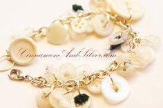 White Button Charm Bracelet Full White Charm by CinnamonandSilver