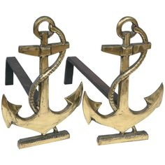 Set of Vintage French Nautical Themed Brass Andirons   From a unique collection of antique and modern andirons at https://www.1stdibs.com/furniture/building-garden/andirons/