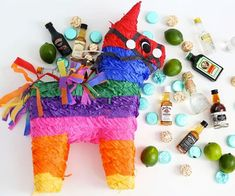 party pinata - Pinatas are traditionally filled with small prizes and treats, but the 'Nipayata!' party pinata takes a different approach. Birthday Pinata, 35th Birthday, Birthday Parties, Birthday Ideas, Birthday Woman, Birthday Cakes, Birthday Gifts, Mini Liquor Bottles, Pinata Fillers