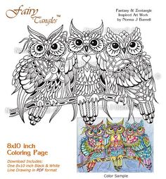 Threesome Three Owls in a Tree Fairy-Tangles Adult Printable Coloring Book  Pages Owl Coloring Sheets by Norma J Burnell Owls to Color 6c94f8061d