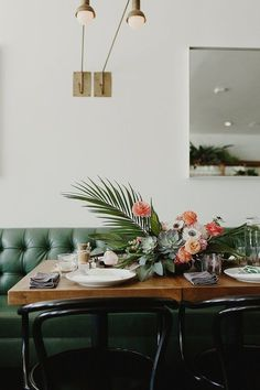 palms, banquette, anemone, succulent centerpiece