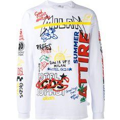 Gcds multi-print sweatshirt (430 BRL) ❤ liked on Polyvore featuring men's fashion, men's clothing, men's hoodies, men's sweatshirts, white and mens white sweatshirt