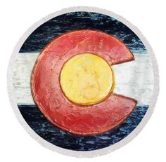 "Colorado Flag Decor Round Beach Towel, taken from an original plaster wall art piece, by Russell Latino. Here it is . . . the towel that's taking the internet by storm. Our round beach towels are 60"" in diameter and made from ultra-soft plush microfiber with a 100% cotton back. Perfect for a day at the beach, a picnic, an outdoor music festival, or just general home decor. Ships within 2-3 business days."