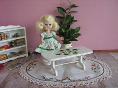50s Doll Furniture  Hand Painted  Flowered  Coffee by TheToyBox