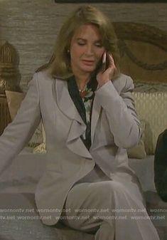 Marlena's grey ruffled blazer on Days of our Lives Deidre Hall, Days Of Our Lives, Our Life, Drake, Blazer, Grey, Jackets, Outfits, Women