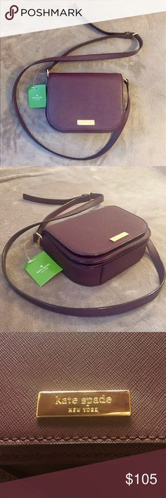"Kate Spade Laurel Way Carsen crossbody Kate Spade Laurel Way Carsen crossbody bag in muddledwine (deep purple). Saffiano finished leather with gold plated hardware. Comes with care card. Length: 5.5"", width across: 7"", width sideways: 2.5"". Full strap length: 45""-49"". kate spade Bags Crossbody Bags"