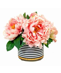 Another great find on #zulily! Light Pink Peony Striped Vase Arrangement by Creative Displays #zulilyfinds
