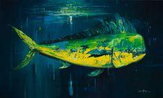 Slammer / 3' x 5' / Oil on canvas  Life-sized painting of a Dolphin fish / Dorado / Mahi Mahi, offshore fish  Available from the Saladino Gallery danny@saladinogallery.com