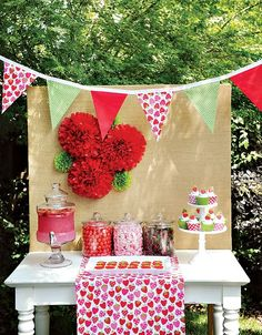 """""""Berry Sweet"""" Summer Strawberry Picnic Party // Hostess with the Mostess® - backyard party Picnic Theme, Picnic Birthday, First Birthday Parties, Backyard Party Decorations, Birthday Party Decorations, Birthday Ideas, Burlap Party, Strawberry Shortcake Birthday, Vintage Strawberry Shortcake"""
