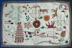 An interesting kantha quilt from Bengal, Asia. This piece is embroidered with cotton thread in several colors with a white running stitch background. Very fine and intricate handwork employing motifs of various  ...