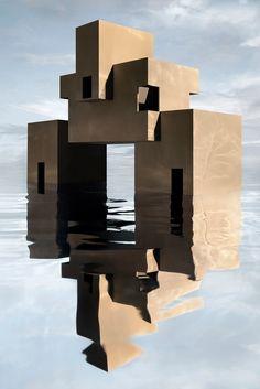James Casebere, House On Stilts, Orange House, Dream Art, Global Art, Brutalist, Art Market, Architecture, Surrealism