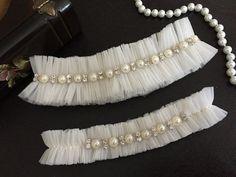 wedding garter set ivory tulle bridal garter set by alarastore