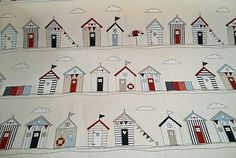 Beach Huts, Maritime, Regatta, Tea Time and Bunting! Fabric Pictures, Pictures To Paint, Beach Fabric, Shabby Chic Curtains, Vintage Shabby Chic, Nautical Theme, Upholstery, Cotton Fabric, Holiday Decor