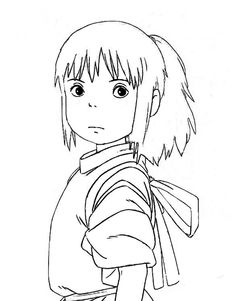 Anime Drawings Sketches, Cool Art Drawings, Easy Drawings, Personajes Studio Ghibli, Ghibli Tattoo, Anime Lineart, Outline Art, Studio Ghibli Art, Japon Illustration