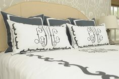 Modern, handcrafted linens for every room and occasion. Leontine Linens specializes in custom linens for bed, bath and table since Monogram Pillows, Leontine Linens, Bed Linens, Master Bedroom, Bedroom Decor, Bedroom Ideas, Linens And More, Beautiful Bedrooms, Home