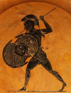 "lionofchaeronea:  ""A warrior in armor, bearing a shield with a Gorgon's head. Detail of an Attic black-figure plate, attributed to the painter Psiax; ca. 510 BCE. Found at the sanctuary of Zeus at Olympia; now in the Antikensammlung Berlin. Photo..."