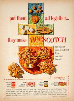 1962 Ad Hopscotch Recipe Butterscotch Peanut Butter Marshmallows Chow Mein YFR1