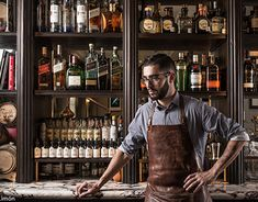 Fifty Mils / Bartenders on Behance Photography Terms, Digital Photography, Portrait Photography, Bartender Uniform, Home Cocktail Bar, Speakeasy Decor, Brewery Design, Whisky Bar, Environmental Portraits