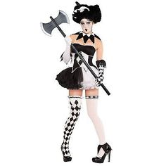 Ladies halloween black #white #horror clown jester fancy dress 10pc #costume + ax,  View more on the LINK: http://www.zeppy.io/product/gb/2/221888640376/