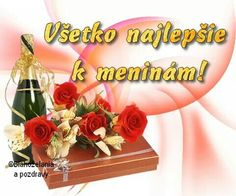 Všetko najlepšie k meninám! Wine Bottle Images, Birthday Wishes, Happy Birthday, Lets Celebrate, Healthy Sweets, Floral Wreath, Pictures, Fiat, Google