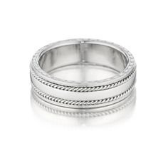 Our Designer Engraved Men's Band by Penny Preville is handmade in the U. Available in Platinum as well as White, Yellow, and Rose Gold. Gold Band Ring, Band Rings, Wedding Day, Wedding Rings, Heart With Arrow, Bangles, Bracelets, Bridal Collection, Rose Gold