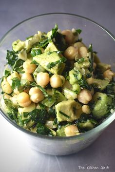 This salad rocks! Takes 15 minutes and loaded with nutritious ingredients. Refreshing, filling, perfect for lunch or dinner. Lemony Kale Chickpea Avocado Salad on thekitchengirl.com