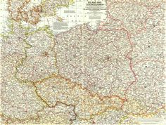 This detailed map of Poland and Czechoslovakia contains notes about territories and administration during the Cold War era. By National Geographic. Poland Map, National Geographic Maps, Cartography, World War Two, Vintage World Maps, Germany, Ranch, Salt, Geography