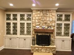 My Kitchen stone fireplace cabinets with iron inserts