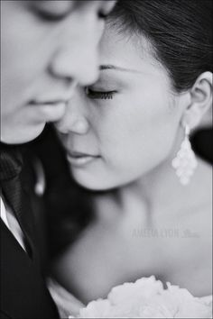 Bride and Groom Posing close up. Maybe add ring hand on face
